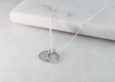 Mini Double Initial Disc Necklace - Silver