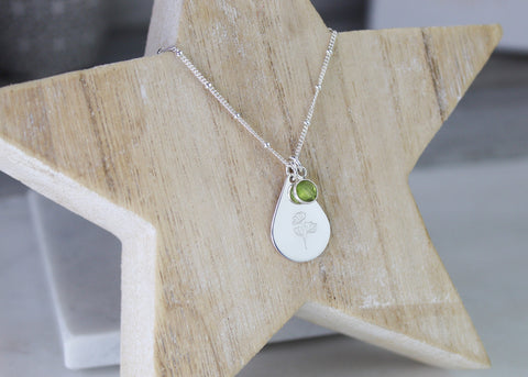 Sweet Pea Teardrop Necklace