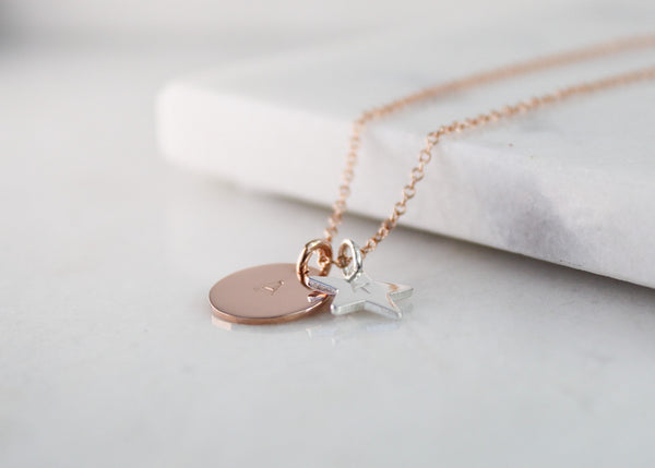 Large Disc & Star Necklace - Rose Gold