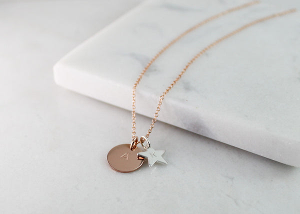 Midi Disc & Star Necklace - Rose Gold