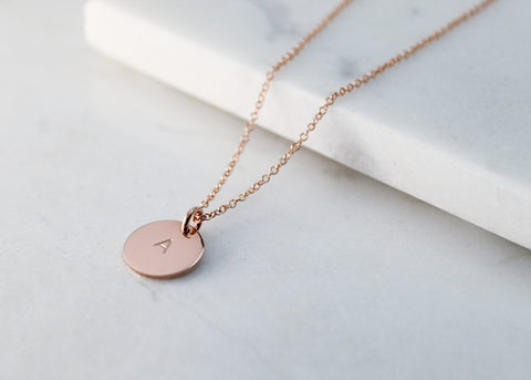 Large Initial Disc Necklace - Rose Gold
