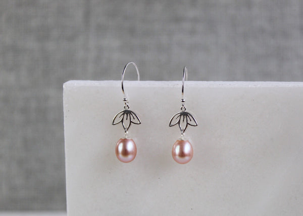 Lotus Flower & Pearl Earrings