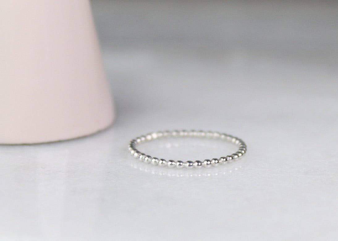 Skinny Beaded Stacking Ring