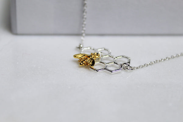 Silver Worker Bee Necklace