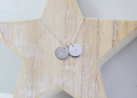 Large Double Initial Disc Necklace - Silver