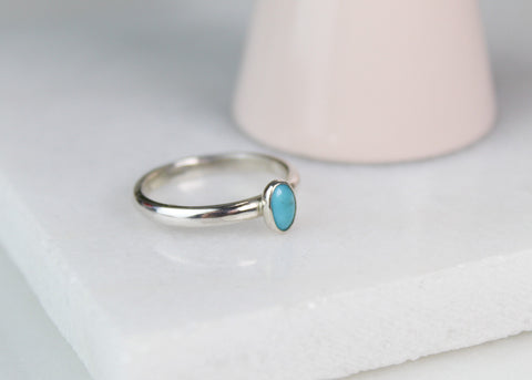 Turquoise Oval Gemstone Ring