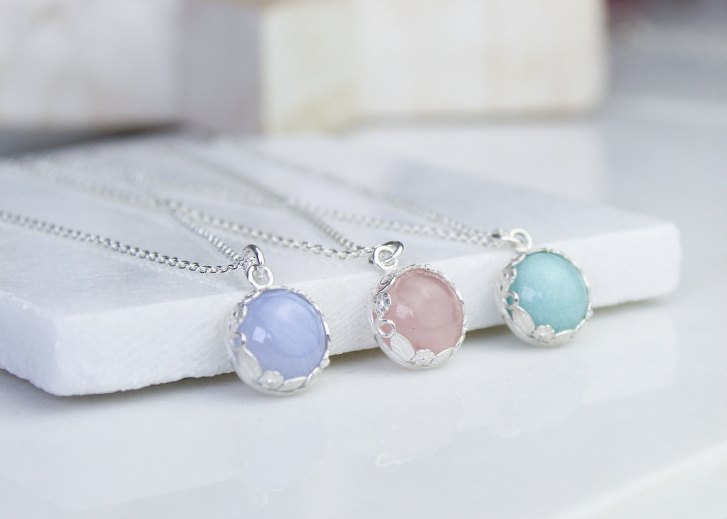 Floral Amazonite Gemstone Necklace