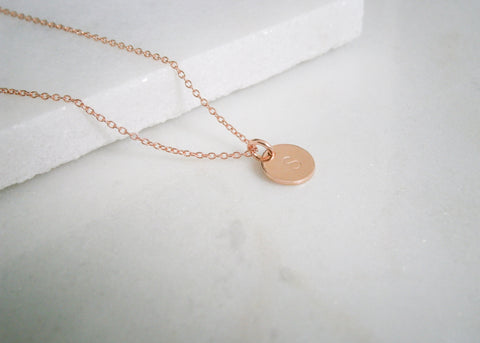 Mini Initial Disc Necklace - Rose Gold