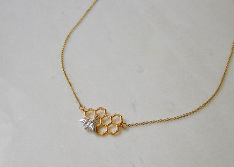 Worker Bee Necklace - Gold