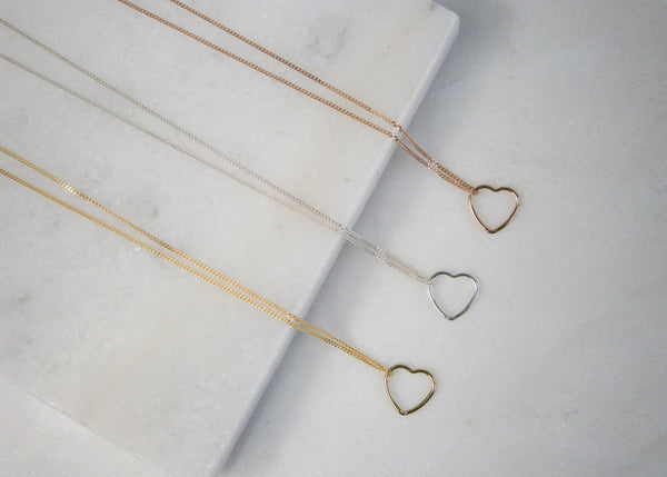 Gold Floating Heart Necklace