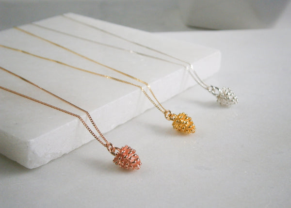 Pine Cone Necklace - Rose Gold