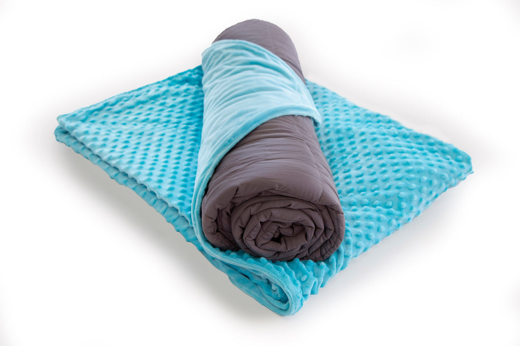 Blue Weighted Blanket Bamboo with Minky Cover 7kg - Changing Seasons