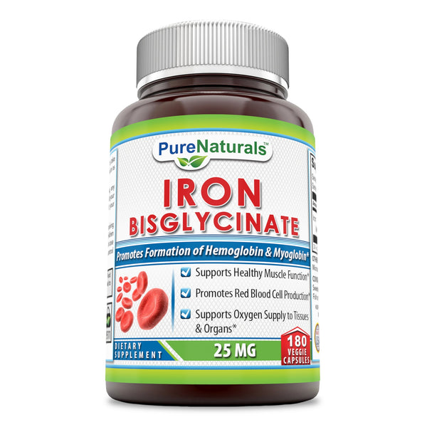 Pure Naturals Iron Bisglycinate 25 Mg 90 Veggie Capsules