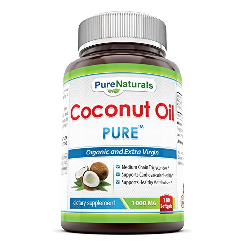 Pure Naturals Extra Virgin and Organic Coconut Oil 1000 Mg, 180 Softgel