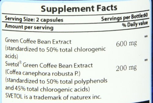 Pure Naturals pure coffee Bean Extract with Sevtol, 120 Veg Capsules