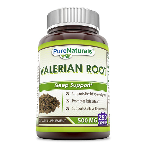 Pure Naturals Valerian Root 500 Mg 250 Capsules, Supports Healthy Sleep Cycles* Promotes Relaxation* Supports Cellular Rejuvenation*