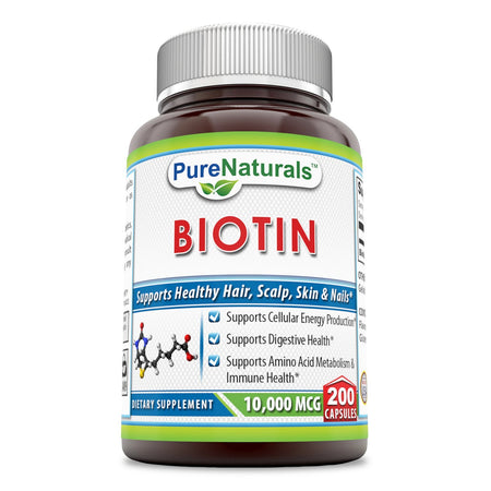 Pure Naturals Biotin Dietary Supplement - 10,000 mcg - 200 Capsules - Supports Healthy Hair, Skin & Nails - Promotes Cell Rejuvenation and Energy Production*