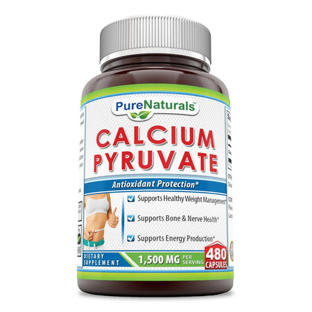 Pure Naturals Calcium Pyruvate, 1500Mg 480 Capsules