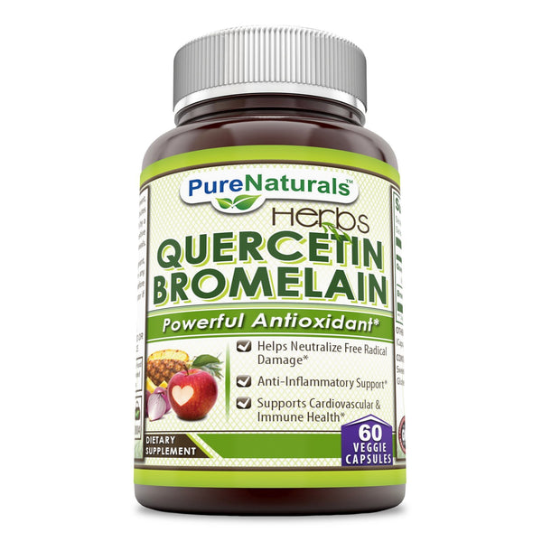 Pure Naturals Quercetin with Bromelain 800 Mg + 165 Mg 60 Veggie Capsules