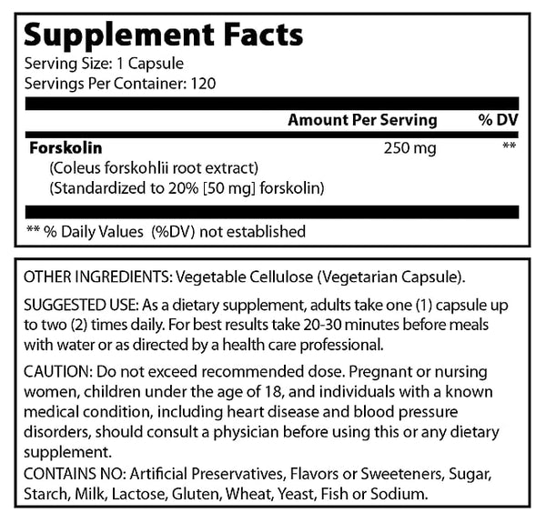 Pure Naturals Forskolin Extract 250 Mg 120 Capsules