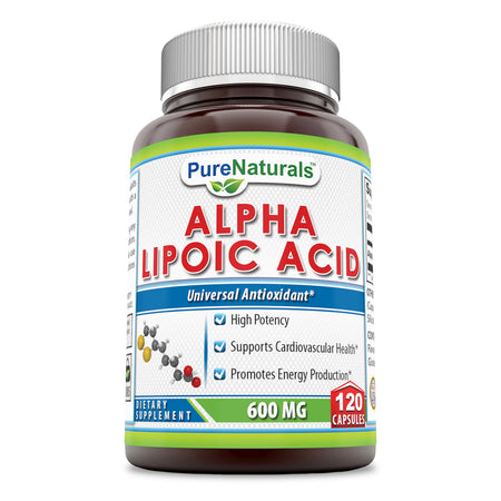 Pure Naturals Alpha Lipoic Acid 600 Mg Capsules, 120 Count Supporting Nervous System Function,Supports Cardiovascular Health & Energy Production*
