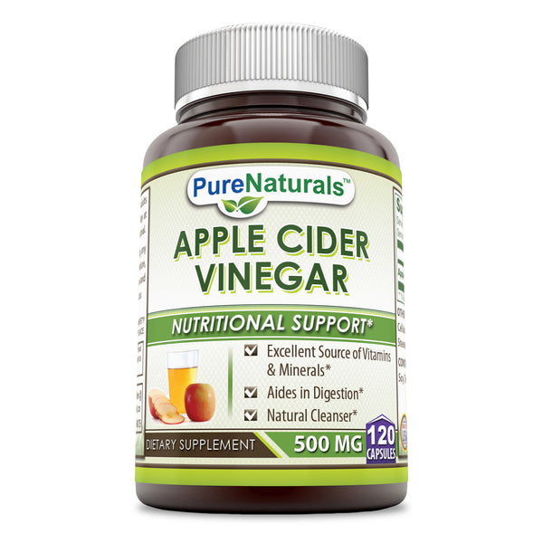 Pure Naturals Apple Cider Vinegar 500 mg, 120 Capsules- Excellent Source of Vitamins & Minerals* Acids in Digestion* Natural Cleanser*