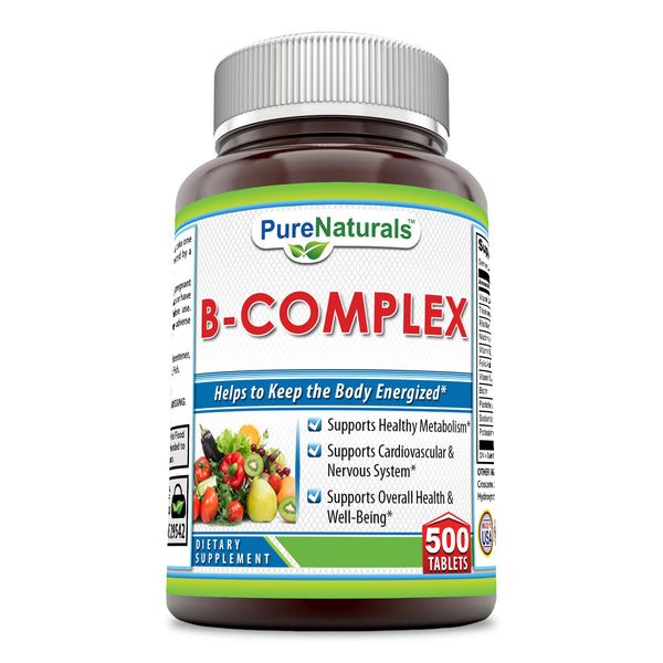 Pure Naturals B-Complex, 500 Tablets -Supports Healthy Metabolism* -Supports Cardiovascular & Nervous System* -Supports Overall Health & Well-Being*