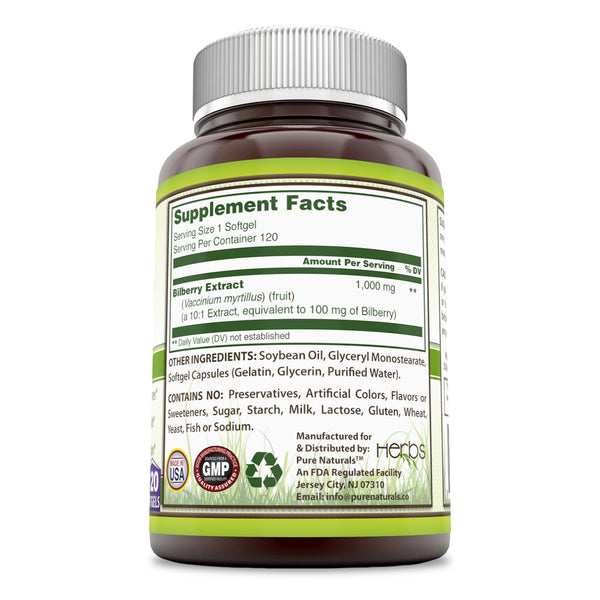 Pure Naturals Bilberry Extract 1000 Mg 120 Softgels