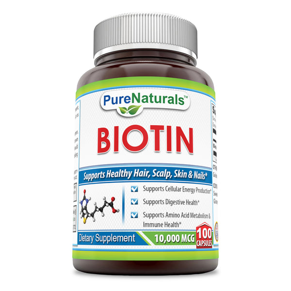 Pure Naturals Biotin 10,000 Mcg, 100 Capsules- Supports Healthy Skin & Hair – Promotes Overall Good Health
