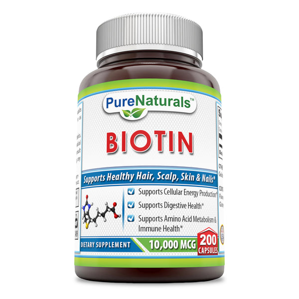 Pure Naturals Biotin Dietary Supplement - 10, 000 mcg - 200 Capsules - Supports Healthy Hair, Skin & Nails - Promotes Cell Rejuvenation and Energy Production. *