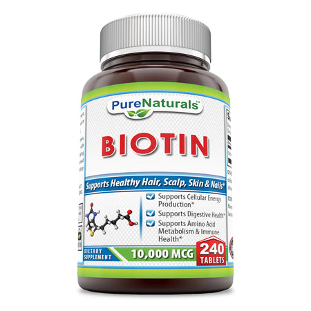 Pure Naturals Biotin 10000 mcg 240 Tablets (Non-GMO)- Supports Healthy Hair, Skin & Nails - Promotes Cell Rejuvenation and Energy Production. *