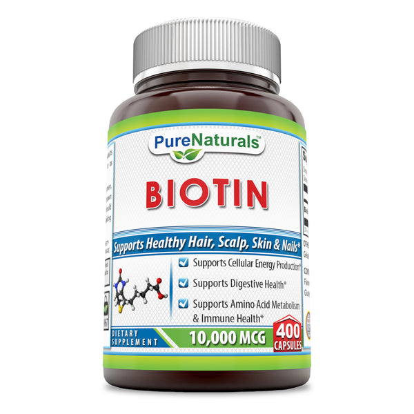 Pure Naturals Biotin 10,000 Mcg, 400 Capsules, Supports Cellular Energy Production, Supports Digestive Health, Supports Amino Acid Metabolism & Immune Health