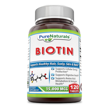 Pure Naturals Biotin 15000 mcg 120 Tablets (Non-GMO)- Supports Healthy Hair, Skin & Nails - Promotes Cell Rejuvenation and Energy Production. *