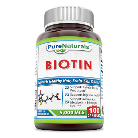 Pure Naturals Biotin 5000 Mcg 100 Capsules, Supports Cellulose Energy Production,,Supports Digestive Health Supports Amino Acid, Metabolism &Immune Health