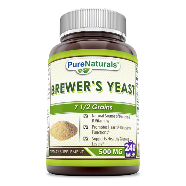 Pure Naturals Brewer's Yeast Tablets 500 mg -count -Allergen Free - Supports Heart Health, Glucose Metabolism, Digestive Health (240 Count)