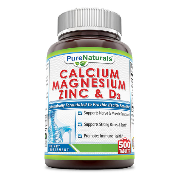 Pure Naturals Calcium Magnesium Zinc + Vitamin D3 500 Tablets Per Bottle