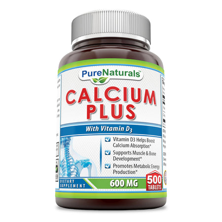 Pure Naturals Calcium Plus Vitamin D3 600 Mg 500 Tablets - Vitamin D3 Helps Boost Calcium Absorption* -Supports Muscle & Bone Development* -Promotes Metabolic Energy Production*