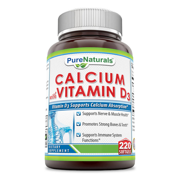 Pure Naturals Calcium with Vitamin D3 1000 Mg  220 Softgels