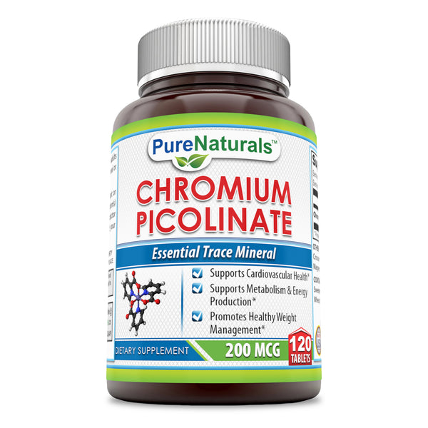 Pure Naturals Chromium Picolinate 200 Mcg 120 Tablets: Supports Cardiovascular Health, Support Metabolism & Energy Production & Promotes Healthy Weight Management
