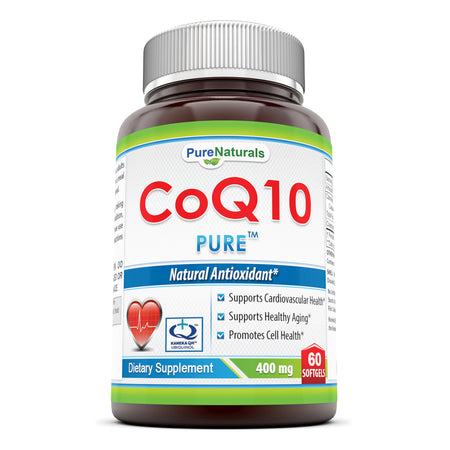 Pure Naturals COQ10 Kaneka Q10 Softgels, 400 mg, 60 Count Supports Cardiovascular Health,Supports Healthy Aging & Promotes Cell Health