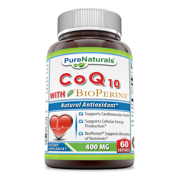 Pure Naturals CoQ10 With Bioperine 400 Mg 60 Softgels