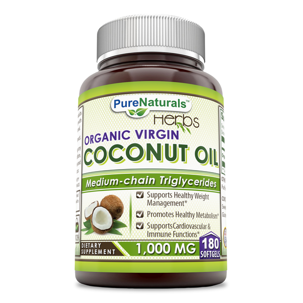 Pure Naturals Organic & Extra Virgin Coconut Oil 1000 Mg 180 Softgels
