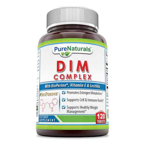 Pure Naturals DIM Plus 120 Tablets Supports Metabolism,Immune System And Promote Healthy Waight Management