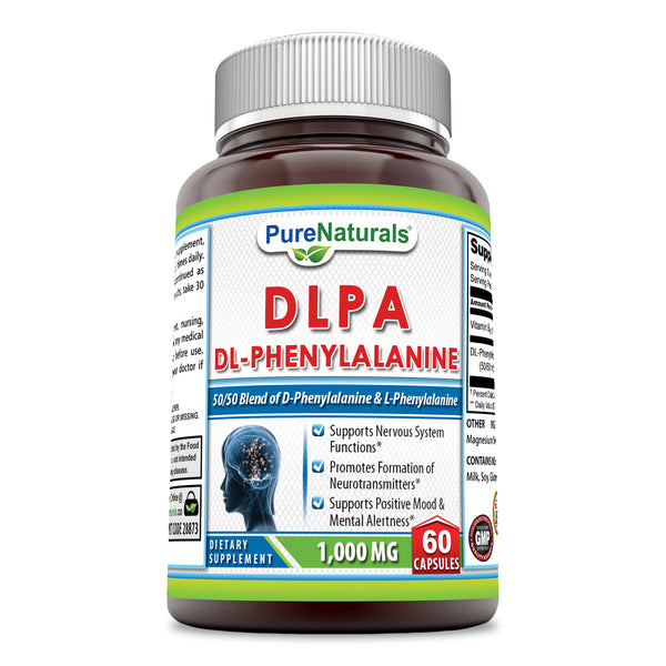 Pure Naturals DLPA (DL-Phenylalanine), 1000 mg, 60 Capsules