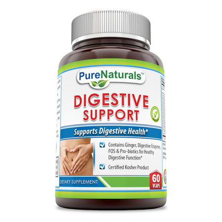 Pure Naturals Digestive Support Dietary Supplement with Essential Enzymes, Ginger, Fructooligosaccharides (FOS), Probiotics and Best Vitamins for Digestion * Certified Kosher by the Orthodox Union *