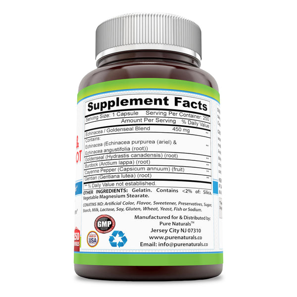 Pure Naturals Echinacea & Goldenseal Root 450 Mg 250 Capsules- Supports Immune Health* Supports Respiratory Response* Supports Overall Health & Well-Being*