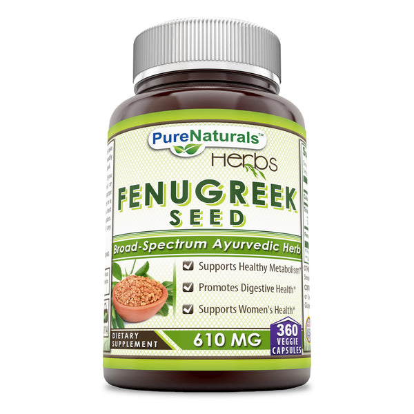 Pure Naturals Fenugreek Seed Supplement 610 Mg 360 Veggie Capsules