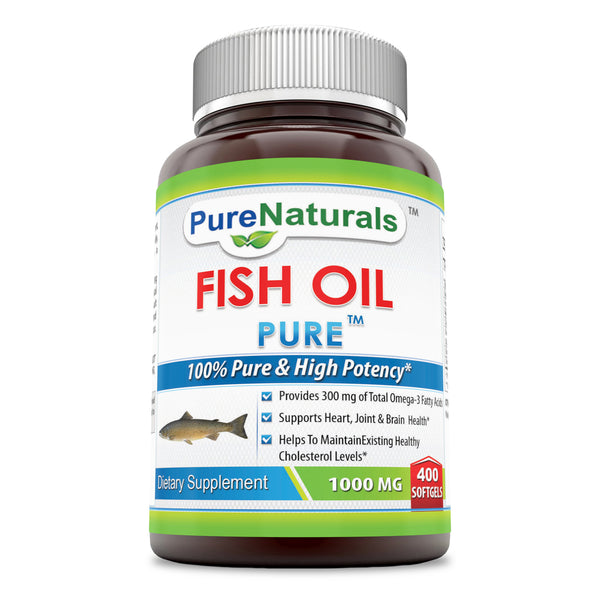 Pure Naturals Fish Oil 1000 mg Soft Gels, 400 Count Support Heart,Joint & Brain Health