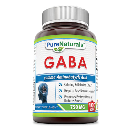 Pure Naturals GABA 750 Mg, (100Count) Veggie Capsules -Promotes Positive Mood & Reduces Stress* -Helps to Ease Nervous Tension* -Calming & Relaxing Effect*