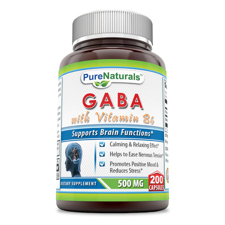 Pure Naturals - GABA with Vitamin B6 Dietary Supplement - 500 Milligrams - 200 Capsules - Promotes Relaxation - Promotes a Positive Mood And Healps To Easy Nervous Tension